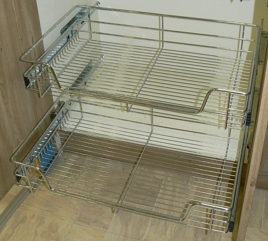 2 x Pull out Wire Basket Chrome Kitchen - Bedroom Drawer Storage (500mm)