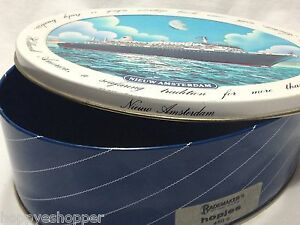 Nieuw-Amsterdam-Holland-American-Collector-Tin-Box-Oval-Embossed-Ship-Travel-Ad