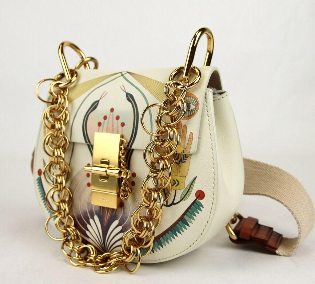 Chloe White Leather Bijou Snakes Print Small Drew Shoulder Bag C0W7Z8  | eBay