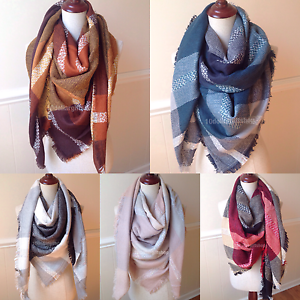 NEW-Women-039-s-Oversized-Blanket-Tartan-Wrap-Scarf-XL-Square-Shawl-Plaid-Pashmina