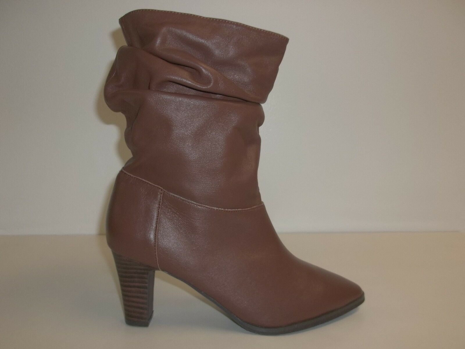 Adrianna Papell Size 8 M NOELLE Brown Leather Mid Calf Boots New Womens Shoes
