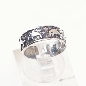 Size-3-25-Vtg-Sterling-Silver-handmade-open-end-Ring-925-Dolphin-Pinky-Band