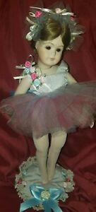 Madame-Alexander-Vintage-REPRO-1950-039-s-BALLERINA-Doll-16-034-APPLIED-FLOWERS