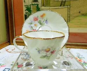 """ROYAL HERITAGE ENGLAND FLORAL PATTERN GOLD TRIM 2 5/8"""" CUP AND SAUCER SET"""