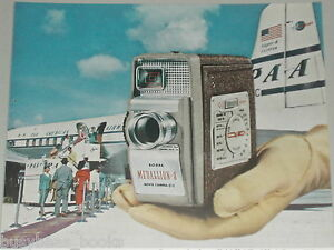 1957 Kodak ad, Medallion-8 camera, Pan Am Clipper DC-6