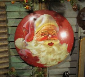 Prim-Antique-Vtg-Style-Red-Christmas-Classic-Santa-Claus-Round-Dome-Tin-Sign