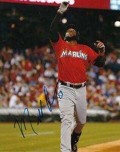 MARCELL OZUNA   MIAMI MARLINS    ACTION SIGNED 8x10