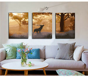 20x20 Diy Acrylic Paint By Number Kit Oil Painting Three Parts Deer