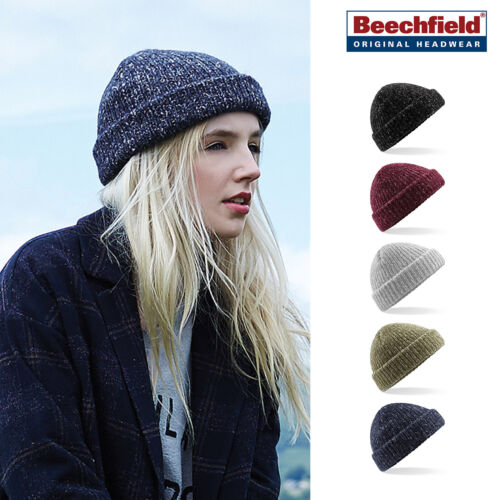 Beechfield Glencoe Double Layer ribbed knit Beanie Unisex Fleck warm winter hat