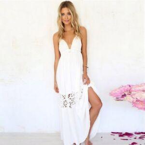 3718e506dc1c Summer Sexy Women s Beach Lace Backless Party Boho Sundress Long ...
