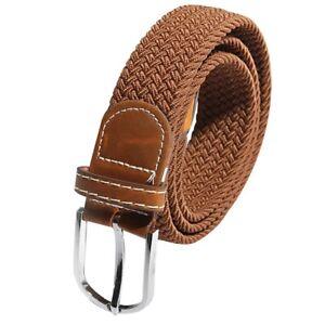 Unisexe-Hommes-Femmes-stretch-en-cuir-tresse-elastique-boucle-de-ceinture-c-W1B3