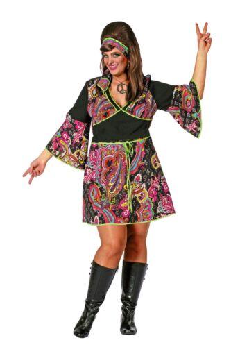 pink Gr.48-56 Hippie Kleid Minikleid Flower Power Fasching Hippiekleid schwarz
