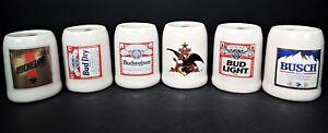 6-Mini-Stein-Mug-Bud-Budweiser-Michelob-Anheuser-Busch-Beer-Shot-Glass-Toothpick