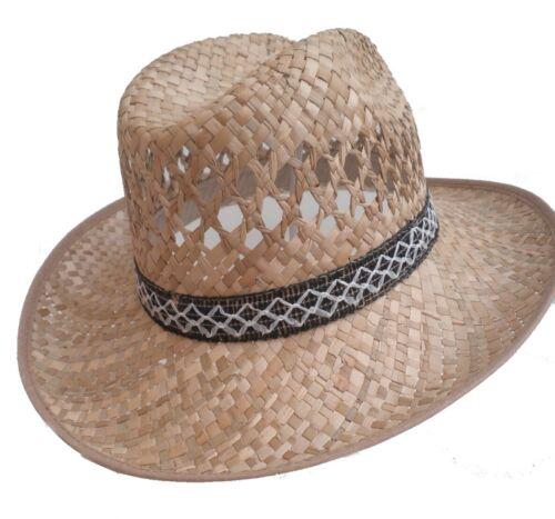 Herren Hut  preiswerter Strohhut Texashut Naturstroh rundum geschwungene Krempe