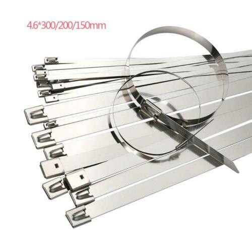 100Pcs Stainless Steel 4.6 mm Metal Locking Cable Ties Wrap Zip Anti-heat Strap