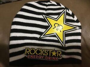 Image is loading Rockstar-energy-drink-men-s-stripes-beanie-hat- 820e86a299ce