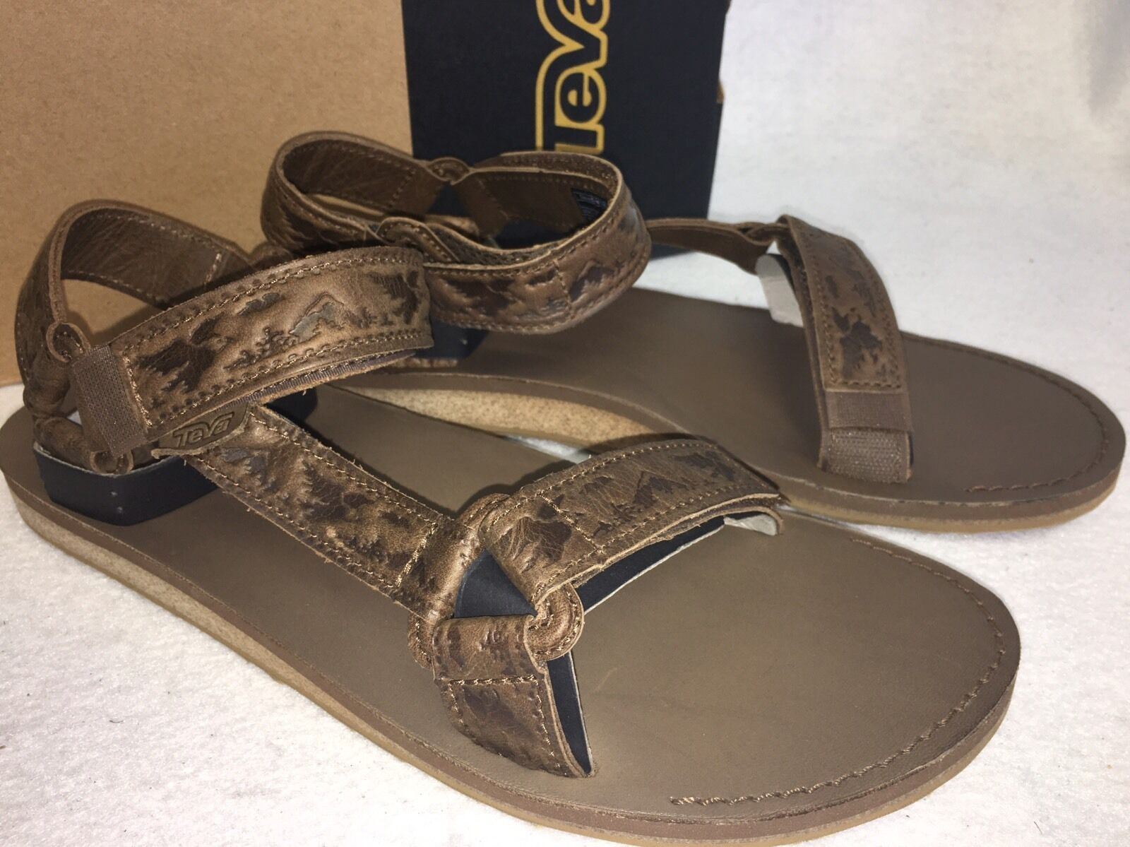 Teva Original Universal Crafted Leather Brown Sandals Mens shoes 1010318 Eagle