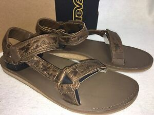 4a02ee96bdc Image is loading Teva-Original-Universal-Crafted-Leather-Brown-Sandals-Mens-