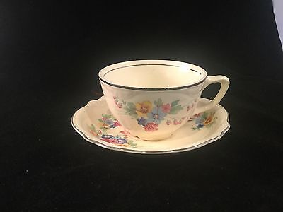 Vintage Homer Laughlin Cup And Saucer Virginia Rose Bouquet Platinum Rim 1940's