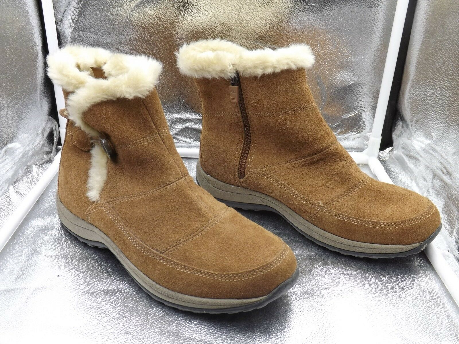 SUEDE LEATHER AND FAUX FUR EASY SPIRIT   ESSTORIES  WOMEN`S  BOOTS SZ 9