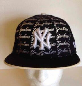 New Era New York Yankees Fitted Hat Navy Blue Wool Baseball MLB ... 2ab1473be5f