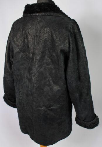 Uk oversize montone in Cappotto di tipo Dl018 10 nero 38 Eu vintage pelle BWxTHZxn