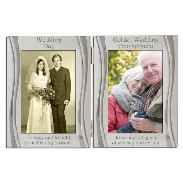 Golden 50th Wedding Anniversary Double Photo Frame 4 X 6 Inch Ebay