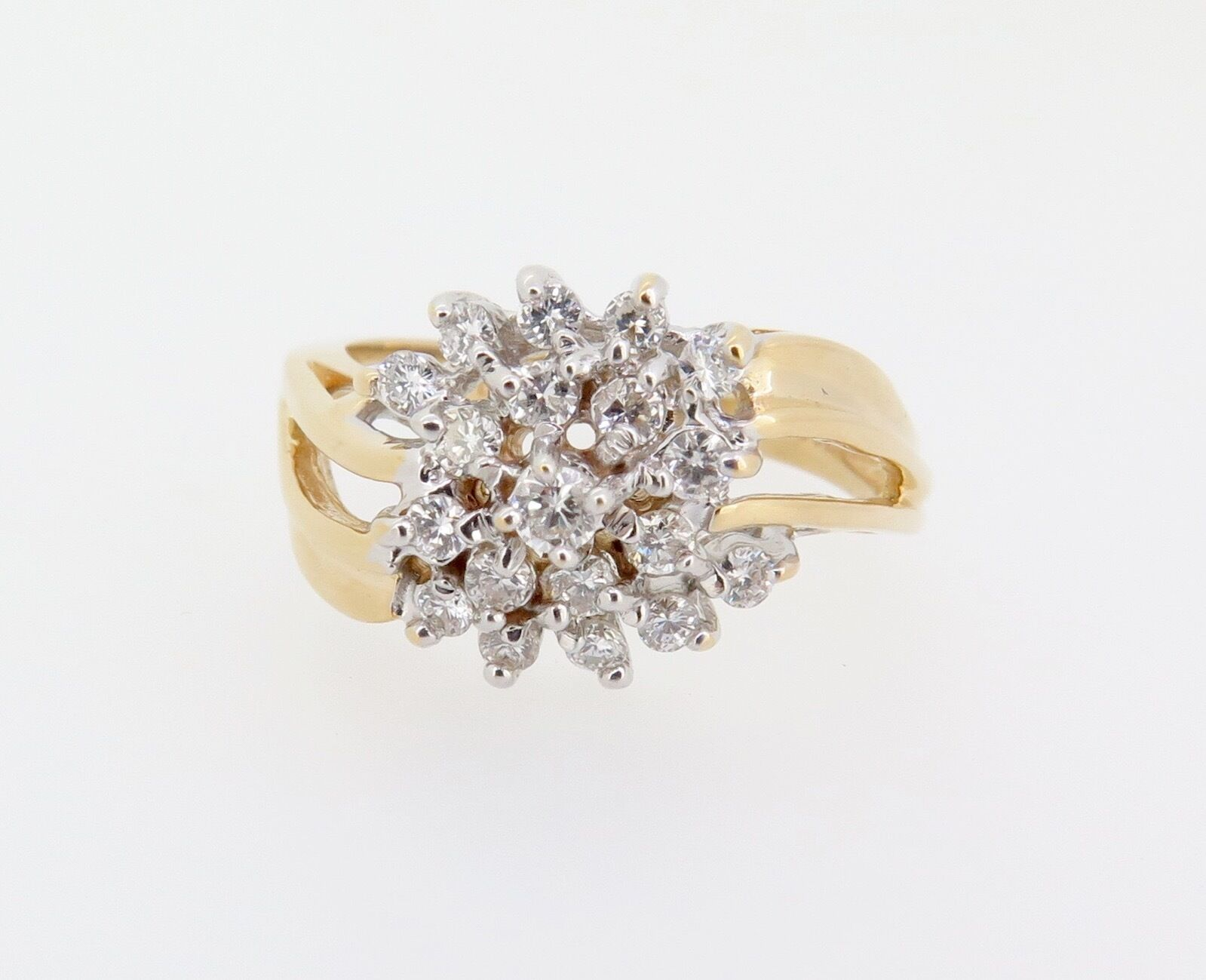 .A 0.50ct Diamond Cluster 14k Yellow gold Dress Ring Size P Val  2440