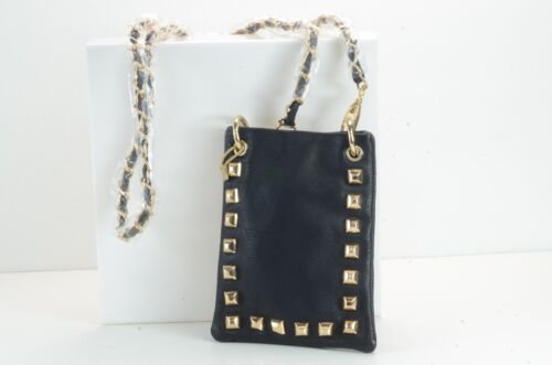 Womans BLACK STUDDED Mini Messenger Bag Purse