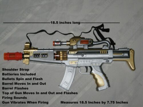 """18.5/"""" Long Machine Gun Military M-16 Toy Rifle With Sounds And Flashing Lights"""