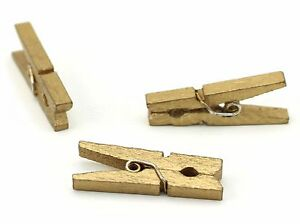 100 Pack CleverDelights 1 3//8 Mini Clothespins Metallic Gold Wooden Clips Craft Pins Scrapbooking