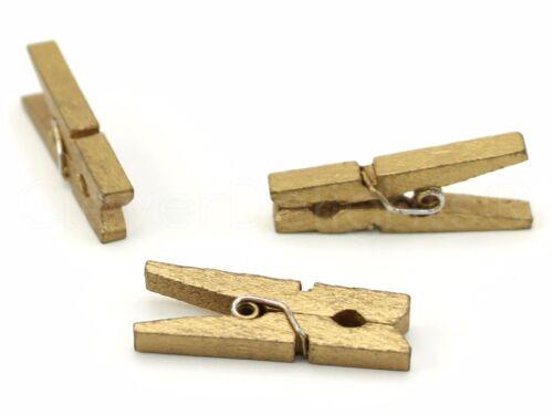 """1 1//8/"""" Wooden Clips 50 Mini Gold Clothespins Craft Clothes Pins Scrapbook"""