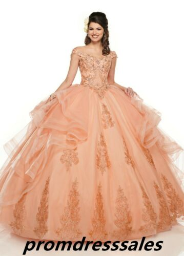 Beaded Off Shoulder Quinceanera Dress Ball Gown Formal Prom Party Wedding Dress