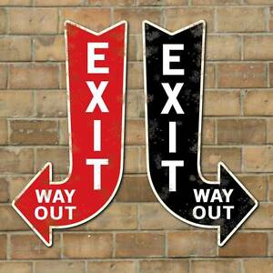 vintage style exit way out arrow exit arrow sign way out sign old