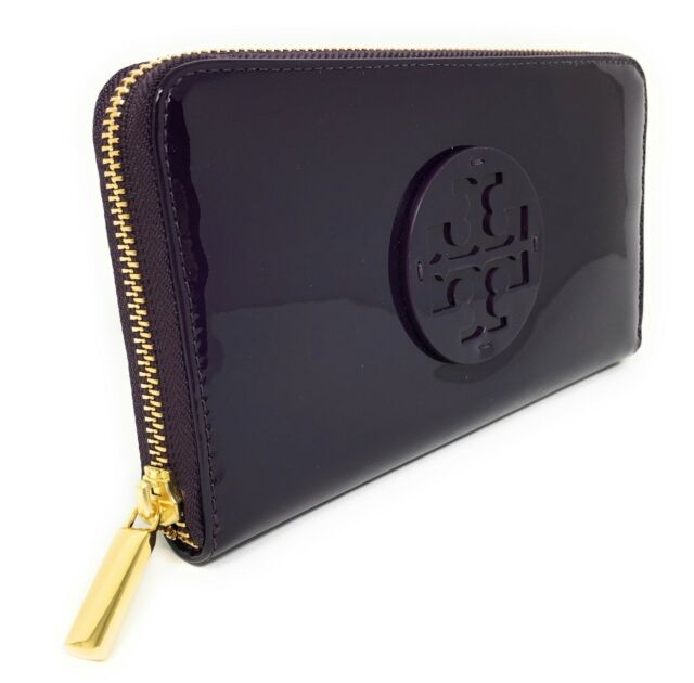 2ad765439 Tory Burch Stacked Patent PVC Zip Continental Wallet - Purple Iris -  195  MSRP!