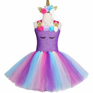 a4c99307b Image is loading Purple-Pastel-Girls-Unicorn-Tutu-Dress-Princess-Flower-