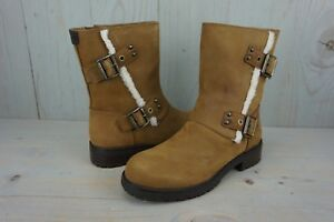 315c965c1f9 Details about UGG NIELS 1018607 CHESTNUT LEATHER WATER RESISTANT MOTO BOOTS  WOMENS US 9 NIB