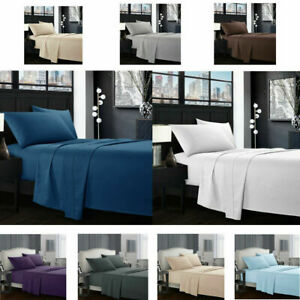 Soft-Microfiber-Bed-Sheet-Set-Bedroom-Fitted-Flat-4PCS-Deep-Pocket-Wrinkle-Free