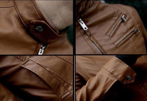 Stylish Mens Stand Collar Slim Zip PU Leather Motorcycle Biker Jacket Coat Black