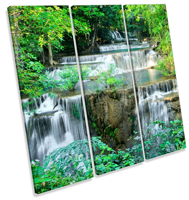 Cascading Tropical Waterfall TREBLE CANVAS WALL ART Square Print Picture