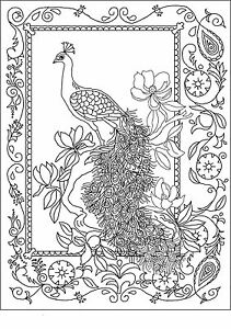 """Rug Hooking Pattern /""""   PEACOCK/""""  on natural linen"""