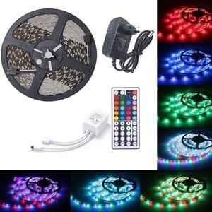 Ruban-LED-3528-Bande-5-Metres-Non-Etanche-Adapteur-Telecommande-2A-Alimentation