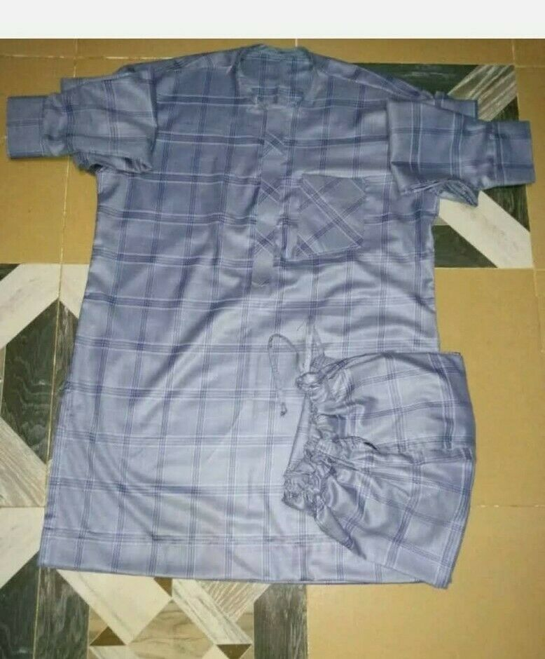 MEN CLOTHING AFRICAN WEAR FABRIC TOP/TROUSER / BUBA & SOKOTO SIZE LARGE TALL