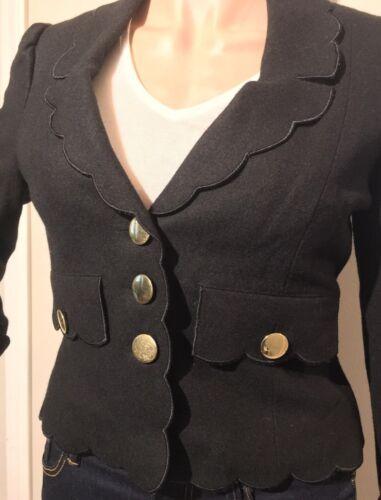 Small Størrelse Ull Vintage Betsey Scallop Prom 4 Detail Black Johnson Jacket Blazer q6gpOAwa