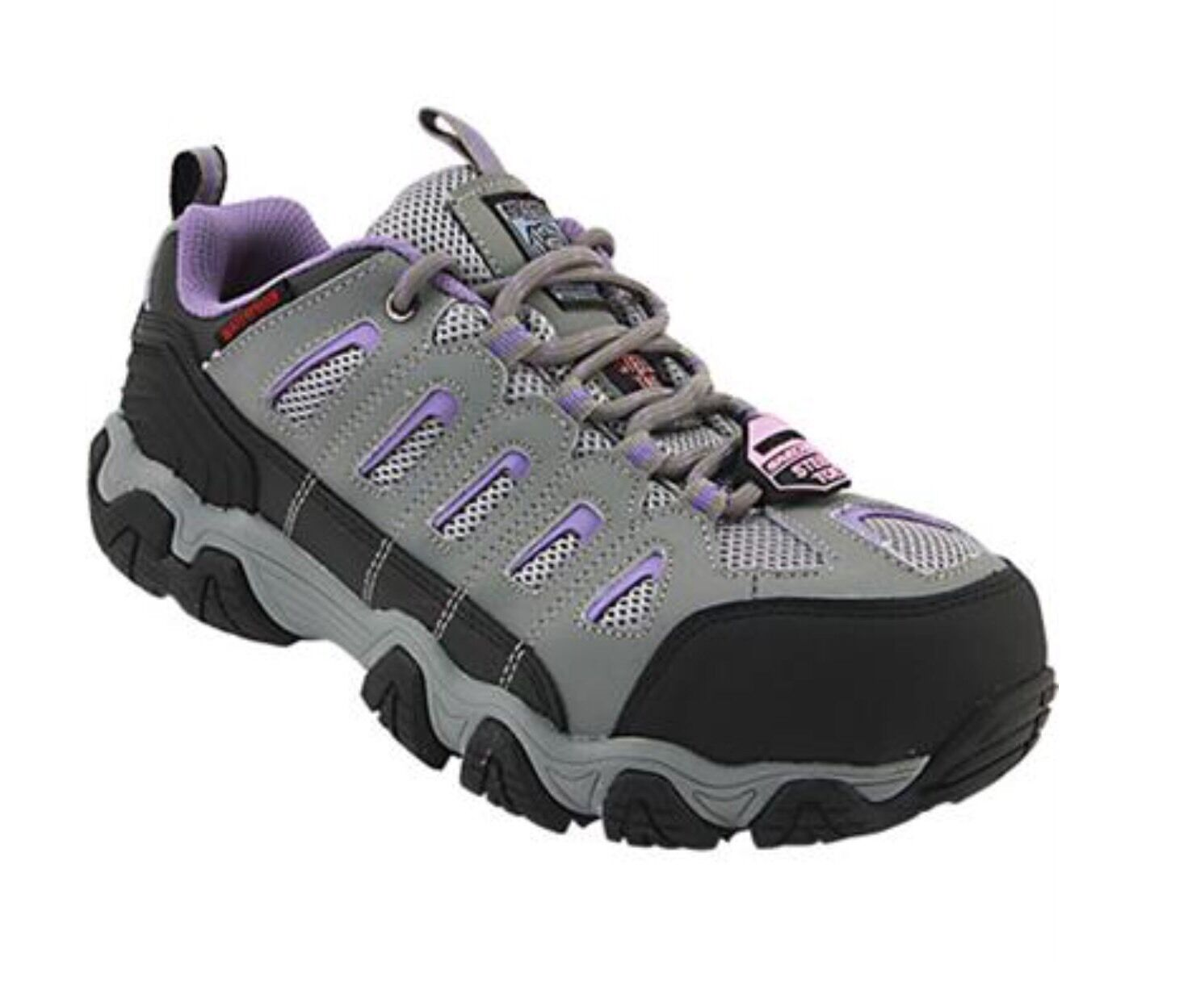 Skechers Steel Toe Work Shoes 76570 Grey & Purple Size 8 NEW