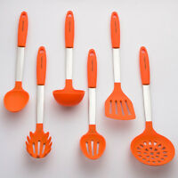 Orange Cooking Utensil Set - Stainless Steel & Silicone Heat Resistant Kitchen