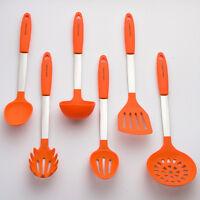 Orange Cooking Utensil Set - Stainless Steel & Silicone Heat Resistant Kitchen