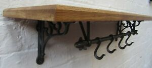 SOLID-OAK-WOODEN-SHELF-RUSTIC-CAST-IRON-BRACKETS-amp-KITCHEN-POT-PAN-HOOKS-RAIL