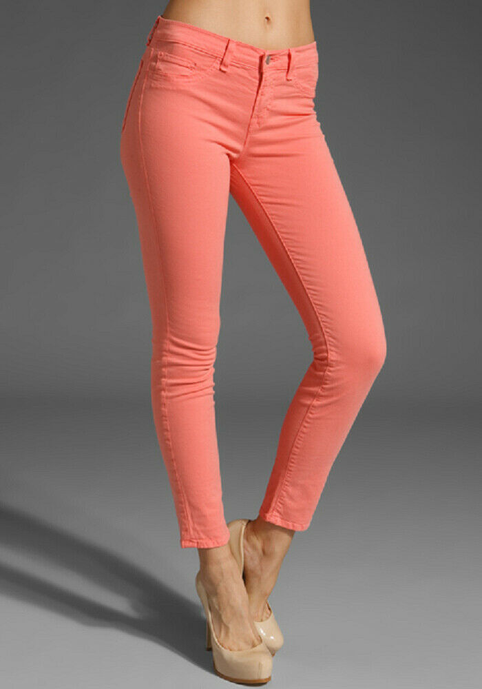 J BRAND Womens 811k120 Jeans Super Skinny Coral Size 26