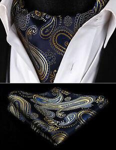 Hommes-Paisley-Navy-or-Cravate-Ascot-Foulard-Cou-Liens-Fete-De-Mariage-Soie